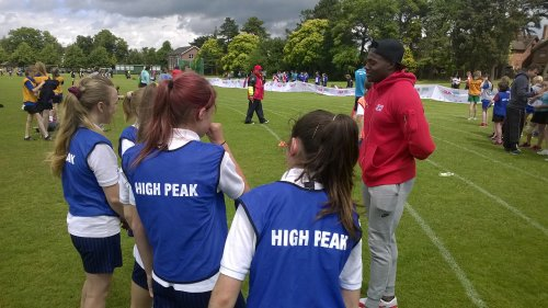 Harry Aikines-Aryeetey chats to girls competing for High Peak.